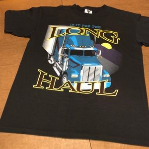 SOLD VTG 1990's Black Graphic Trucking Shirt L